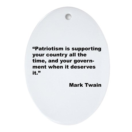 Mark Twain Quote on Patriotism Oval Ornament