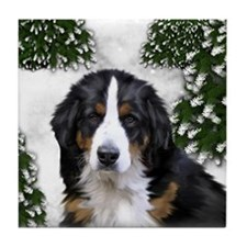 BERNESE MOUNTAIN DOG SNOW FOREST Tile Coaster