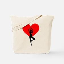 Red Yoga Heart Tote Bag