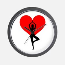 Red Yoga Heart Wall Clock