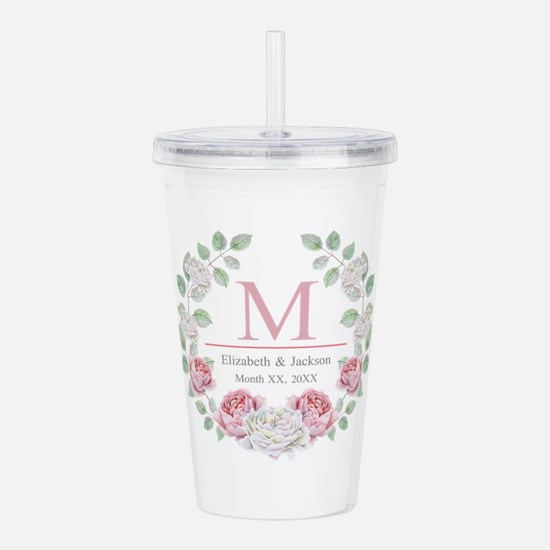 Floral Wreath Wedding Monogram Acrylic Double-wall