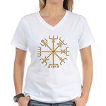 Gold Viking Compass (wide) Women's V-Neck T-Shirt