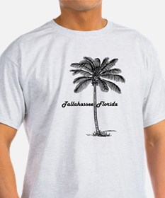 Black and White Tallahassee & Palm design T-Shirt