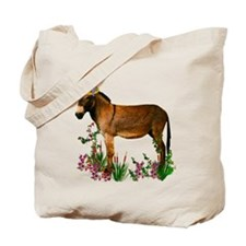 Burro in Straw Hat Tote Bag