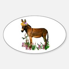 Burro in Straw Hat Oval Decal