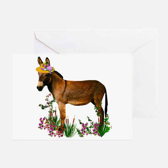 Burro in Straw Hat Greeting Card