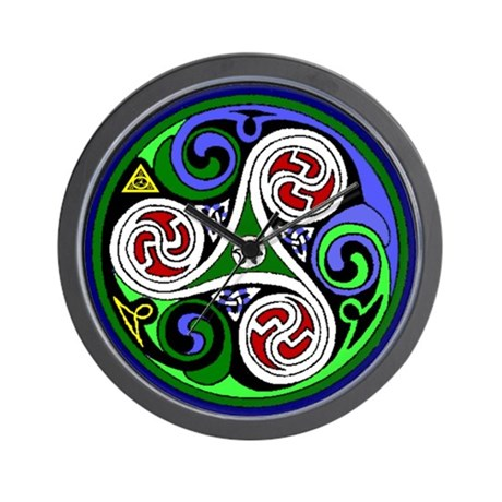 Colored Triskel Wall Clock