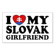 I Love My Slovak Girlfriend Rectangle Decal