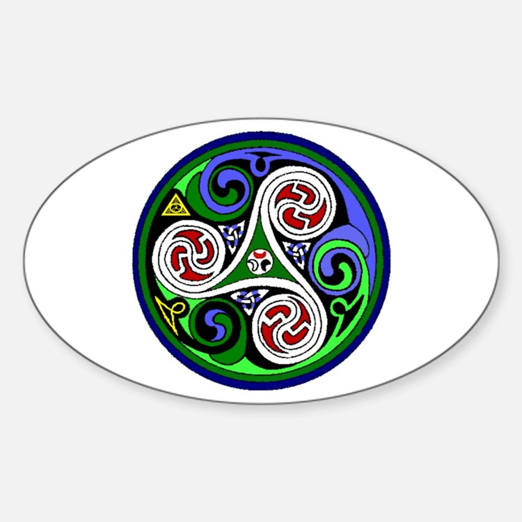 Colored Triskel Oval Decal