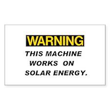 Warning:Solar Energy ! Rectangle Decal