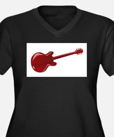 Red Wooden Guitar SIlhouette Plus Size T-Shirt