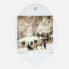 Boston Commons Snow in 1870s Oval Ornament