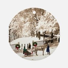 Boston Commons Snow in 1870s Round Ornament