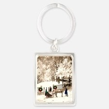 Boston Commons Snow in 1870s Keychains