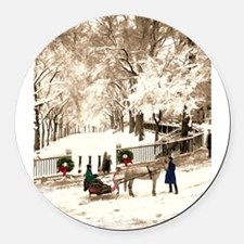 Boston Commons Snow in 1870s Round Car Magnet