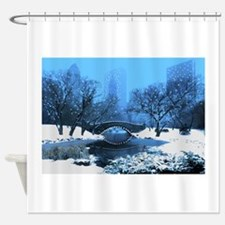 Central Park NY Bridge at Twilight Shower Curtain