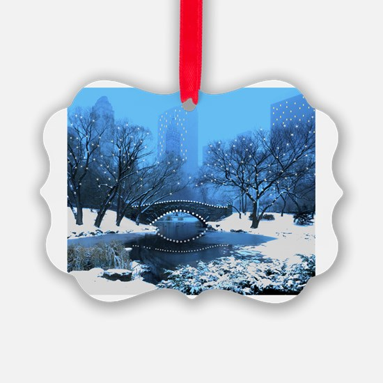 Central Park NY Bridge at Twiligh Ornament