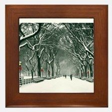 Central Park Snowy Path Framed Tile