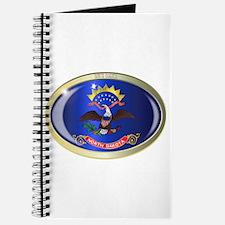 North Dakota State Flag Oval Button Journal