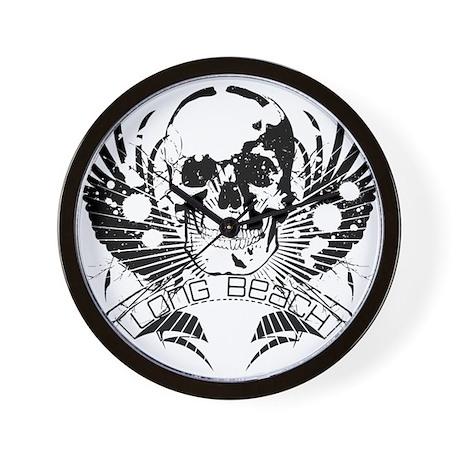 Long Beach Skull Wings Wall Clock