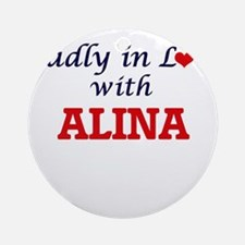 Madly in Love with Alina Round Ornament