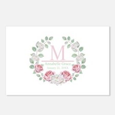 Baby Girl Floral Monogram Postcards (Package of 8)