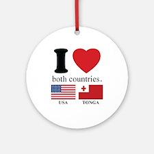 USA-TONGA Round Ornament