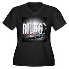 route 66 Women's Plus Size V-Neck Dark T-Shirt