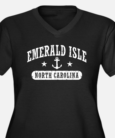 Emerald Isle Women's Plus Size V-Neck Dark T-Shirt