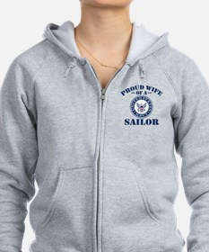 Proud Wife Of A US Navy Sailor Zip Hoodie