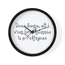A Pekingese For Christmas Wall Clock