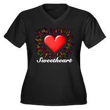 Sweetheart Women's Plus Size V-Neck Dark T-Shirt