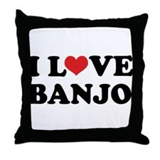 I Love Banjo Throw Pillow
