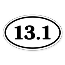 13.1 Half Marathon Runner Oval Decal