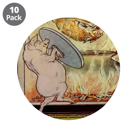 """""""Three Pigs/Big, Bad Wolf"""" 3.5"""" Button (10 pack)"""