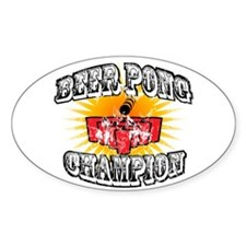 Beer Pong Champion Oval Decal