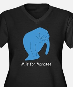 M is for Manatee Women's Plus Size V-Neck Dark T-S