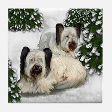 SKYE TERRIER DOGS SNOW FOREST Tile Coaster