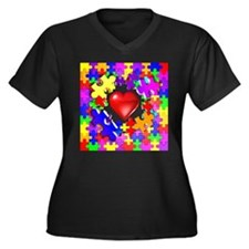 Love Breaks Thru Women's Plus Size V-Neck Dark T-S
