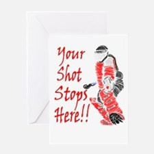 Hockey Goalie - Red - Greeting Cards (Package of G