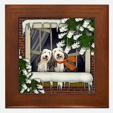 BEARDED COLLIE DOGS WINTER WINDOW Framed Tile