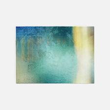 Decorative Blue Writing Texture Vin 5'x7'Area Rug