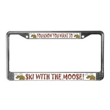 Moose Ski License Plate Frame