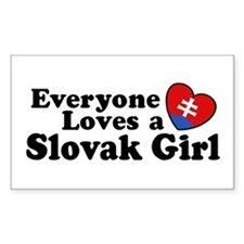 Everyone Loves a Slovak Girl Rectangle Decal