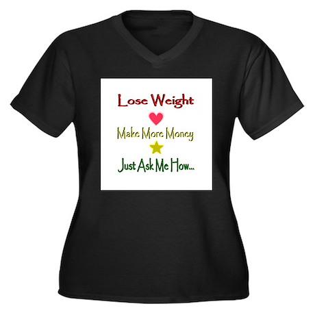 Weight Lines Women's Plus Size V-Neck Dark T-Shirt
