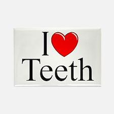 """I Love (Heart) Teeth"" Rectangle Magnet"