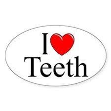 """I Love (Heart) Teeth"" Oval Decal"