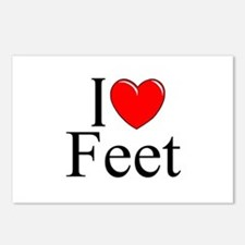 """""""I Love (Heart) Feet"""" Postcards (Package of 8)"""