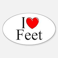 """I Love (Heart) Feet"" Oval Decal"