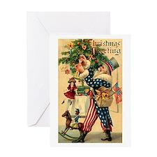 Uncle Sam Santa Claus Greeting Card